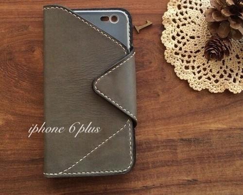 801c3492ce 現品限り《送料無料》iPhone6plus case ヌメ牛革 手縫い 手染めGray 写真の撮りやすい手帳型*