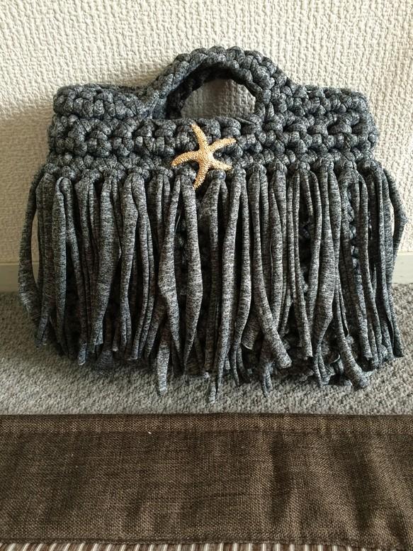 受注生産 Tシャツヤーン(ズパゲッティ)で編み上げたバッグ