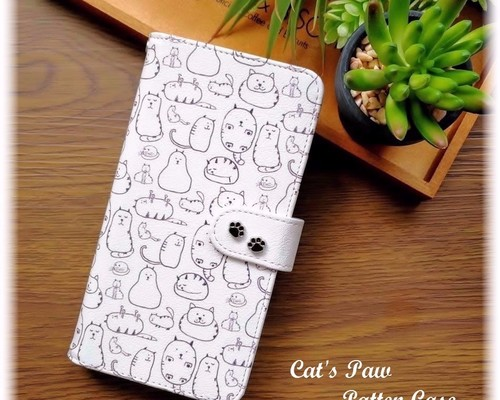 9538f9995c 【Xperia Z5 Premium SO-03H】可愛い猫ちゃんのスマホカバー♡ ネコ肉球モチーフ♡ 手帳型ケース