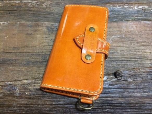 b0d91bd387 iPhone6/6sケース 牛革 つやありキャメル べっこうカラー iPhoneケース ...