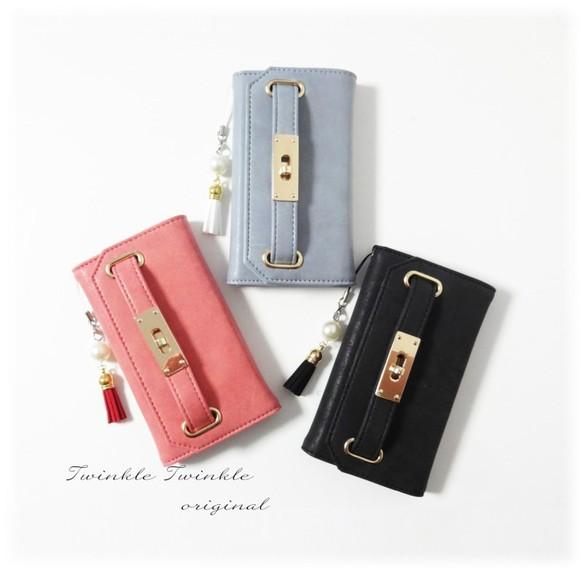 58b2333317 【iphone6/6S/7/8】手帳型ケース♥バッグ風ベルト付き ミラー&タッセルストラップ付き 3色展開