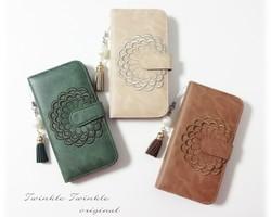03530e9635 【iphone各種】手帳型ケース♥ソフトレザー調 花柄 刺繍デザイン タッセル