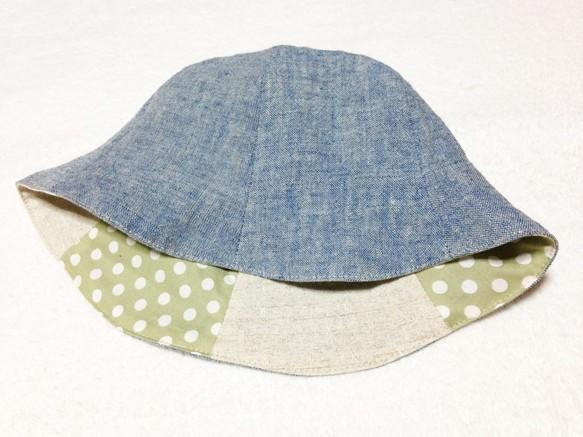 fa8e8ec48be1b  受注生産 リネンブルーと水玉とベージュのチューリップハット 帽子(ベビー・キッズ) bobomama