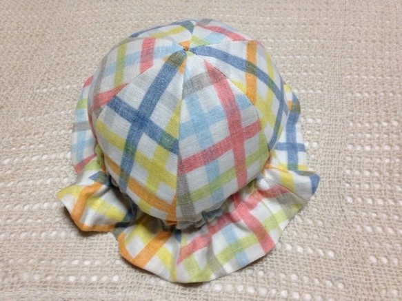 b4d08635cf8cc ベビー用チューリップハット チェック×グレー 帽子(ベビー・キッズ) bobomama