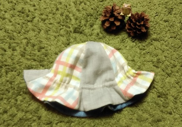 52d0d716ea152 ベビー用チューリップハット チェック×グレー×ブルー 帽子(ベビー ...