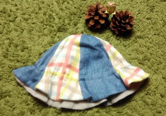 178717e81be90 ベビー用チューリップハット チェック×ブルー×グレー 帽子(ベビー・キッズ) bobomama