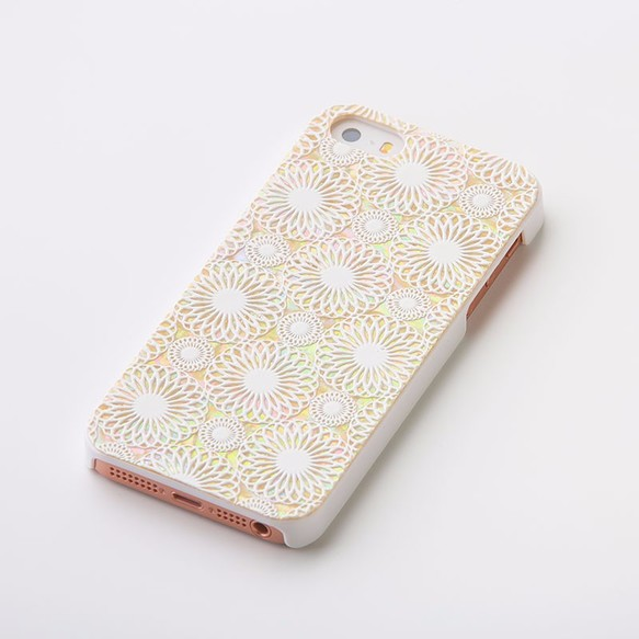 418482308c iPhoneSE/5/5sケース 天然貝仕様(鞠・白カバー)<螺鈿アート> iPhone ...