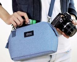 c15f2b471a52 CAROシンプルなブルーのバックパックバッグデュアルサイド単一のマイクロカメラバッグ