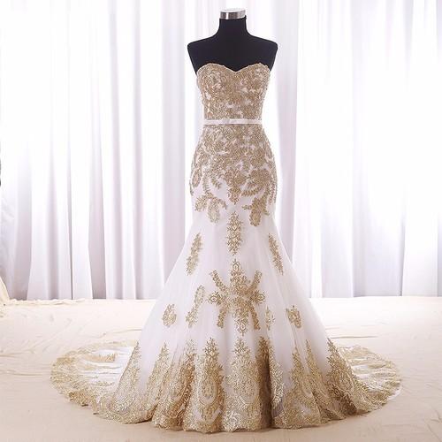 マーメイド ゴージャス ウェディングドレス ゴールド刺繍 サイズオーダーメイド