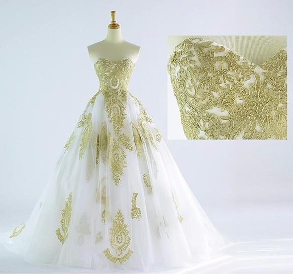 caafa3c26e557 ゴールド刺繍 ウェディングドレス トレーン 花嫁 衣装 オーダーメイド 写真通りの豪華なドレス ドレス cocopie