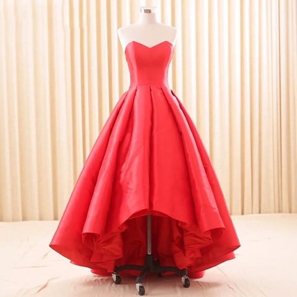 eb0b156bcc594 赤 ミカドシルク お色直し 花嫁 二次会 パーティードレス オーダーメイド 結婚式 挙式 ドレス cocopie