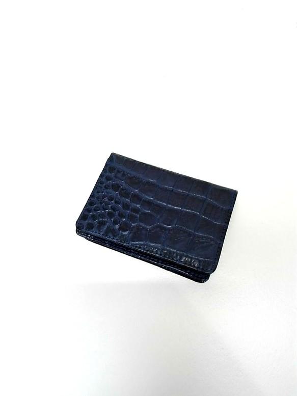ff55243f6fc4 名刺ケース・収納力抜群/クロコダイル型押しレザー・ネイビー彡送料無料・Xmasギフト 名刺入れ・カードケース(メンズ) naoao-bag