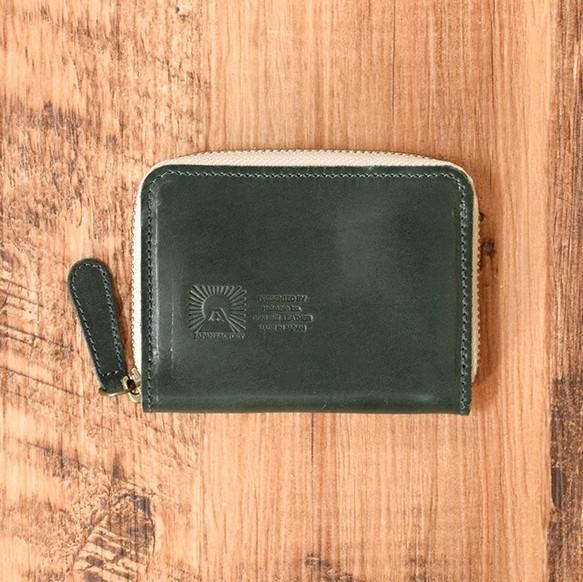 4241a9d4bb68 内側まで馬のヌメ革で仕上げたラウンドファスナー コインケース【ダークグリーン】小さなお財布 名入れ刻印