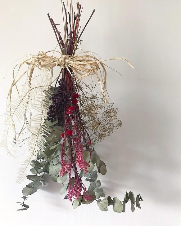 Dry flower swag ドライフラワースワッグ winter フラワー・リース ...