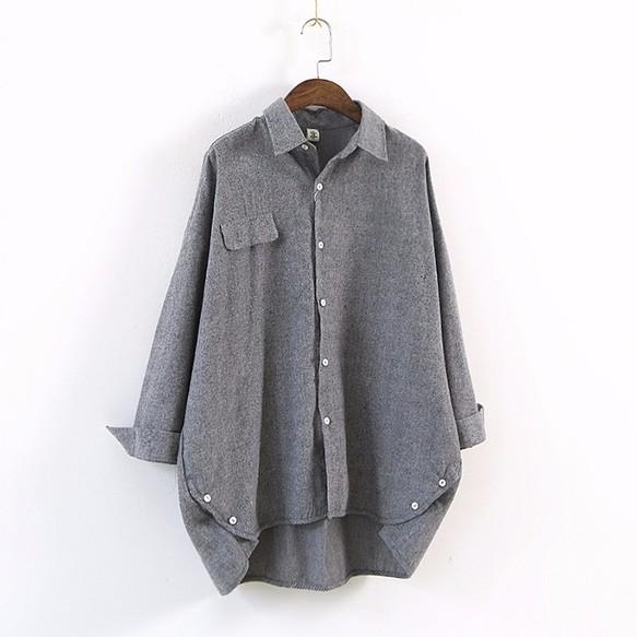 555e9ee9afeb8c 秋 大きいサイズ グレー ブラウス 長袖 シャツ レディース シャツ ...
