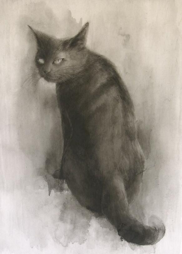 黒猫水墨画 イラスト 平良レイ 通販creemaクリーマ ハンドメイド