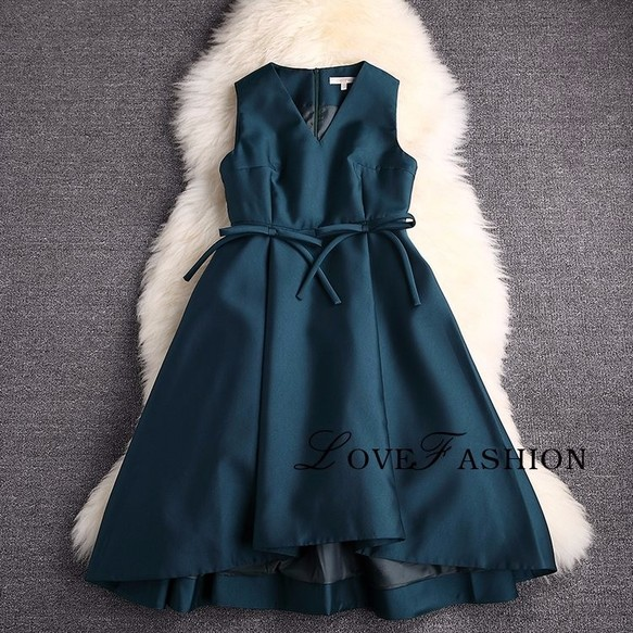 1c523cba7ae74 腰にリボン付きドレス ダックグリーン パーティドレス ワンピース・チュニック Regina