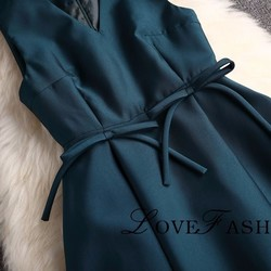 308574e317eff 腰にリボン付きドレス ダックグリーン パーティドレス ワンピース ...