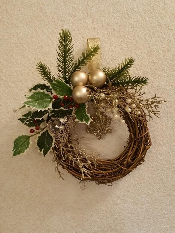 小さめ大人クリスマスリース クリスマスハンドメイド2017 フラワー