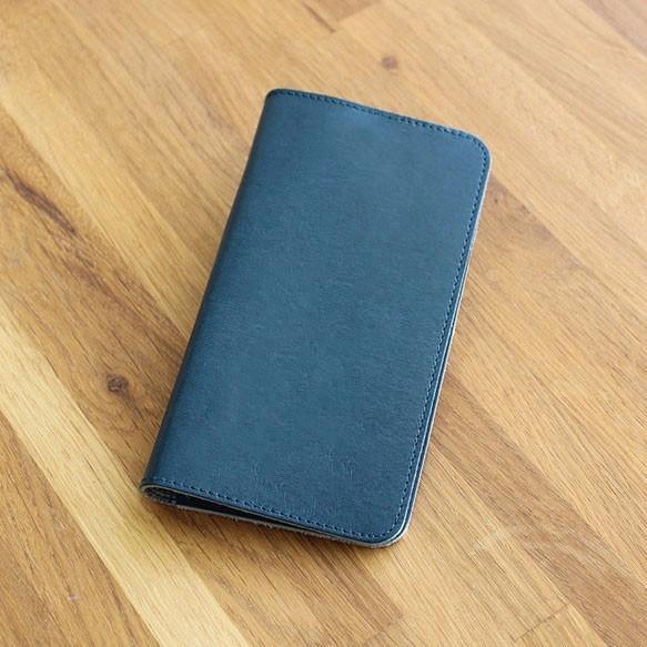 e85091dad0 【全機種対応】栃木レザー:ネイビー 高級本革を国内で縫製しています! 手帳型スマホケース