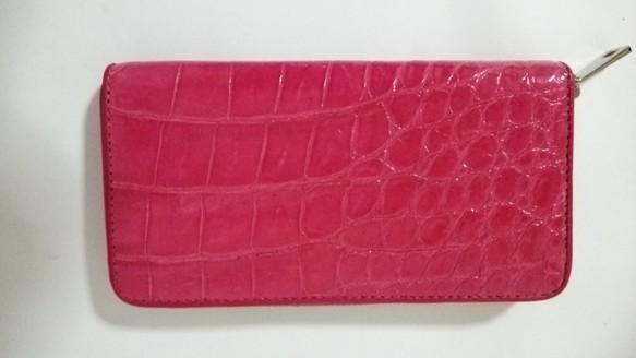 7dde3cd58496 クロコダイル(シャムワニ) 長財布 ラウンドファスナー ピンク シャイニング 長財布 KY-leather