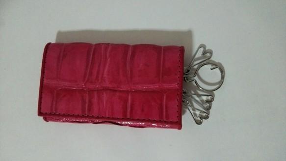 772e4cfab4ea クロコダイル キーケース ピンク キーケース KY-leather 通販|Creema ...