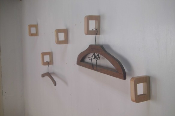 壁付けハンガーフック コートフック (5個セット) / 国産ヒノキ