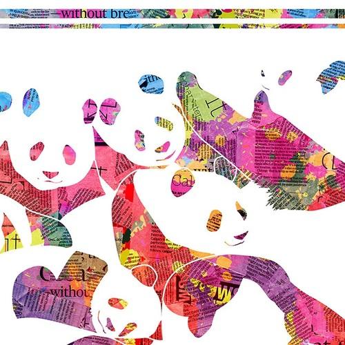 """パンダの大集合〜色鮮やかな英字新聞〜 【A3アートポスター】""""モノクロ ..."""