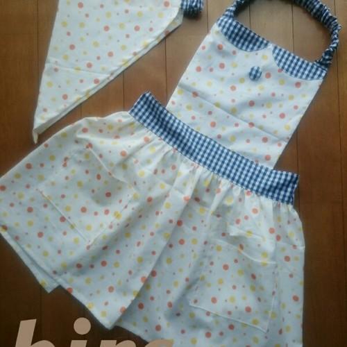 子供用 エプロン(ポケット付き)&三角巾(オレンジ黄色 水玉)