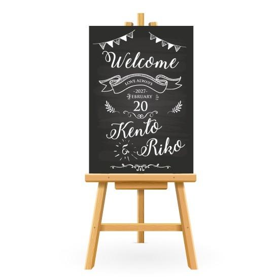 8fe8b05870417 ウェルカムボード チョークボード風 名入れ 結婚式 二次会 ポスター印刷 パネル加工OK bord0001