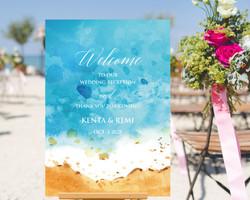 714a49033d9b5 ウェルカムボード ビーチ 海 夏 初夏 結婚式 名入れ 二次会 ポスター印刷 パネル加工OK bord0077. ¥1