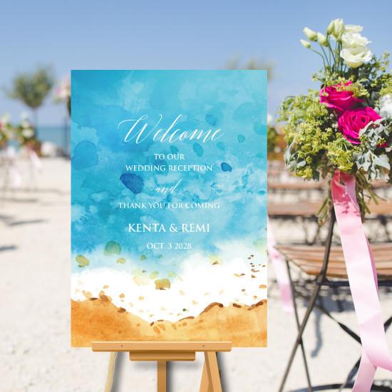ウェルカムボード ビーチ 海 夏 初夏 結婚式 名入れ 二次会 ポスター印刷 パネル加工OK bord0077