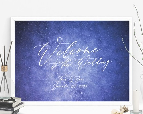 1ffe184534706 ウェルカムボード 名入れ  星空 結婚式 二次会 ポスター印刷 パネル加工OK bord0260