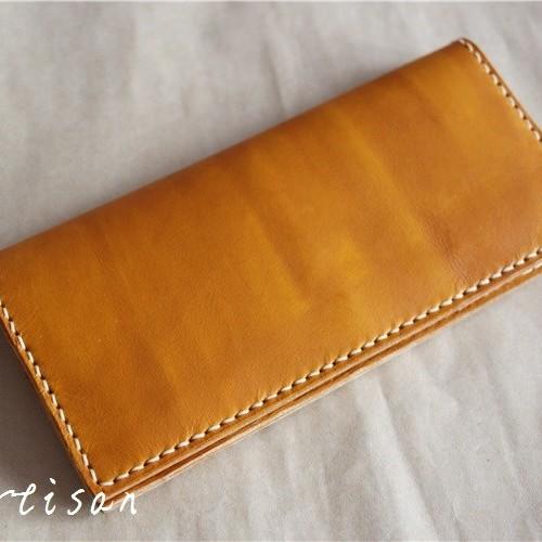 刻印 名入れ ヌメ革 カード入れ ロングタイプ 財布 さいふ 二つ折り財布 レディース メンズ シンプル ys06