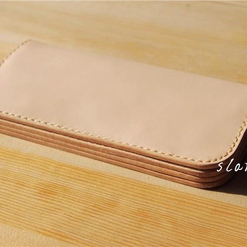 刻印 名入れ ヌメ革 カード入れ 小銭入れ ロングタイプ 財布 さいふ 二つ折り財布 レディース メンズ ys10
