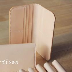 cc93d9480e94 刻印 名入れ ヌメ革 カード入れ ロングタイプ 財布 さいふ 二つ折り財布 レディース メンズ シンプル ys07