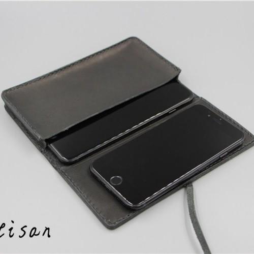 刻印 名入れ ヌメ革 ロングタイプ 財布 さいふ 二つ折り財布 レディース メンズ 携帯ケース シンプル ys08