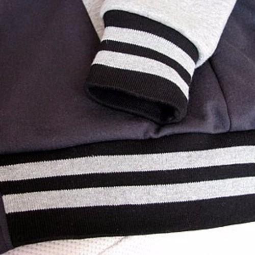 【材料】子供用ライン入りリブニットM(袖口、衿用)黒xグレー