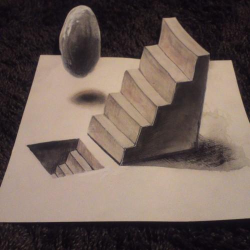 階段と宙に浮く玉 トリックアート その他アート Numa 通販 Creema クリーマ ハンドメイド 手作り クラフト作品の販売サイト