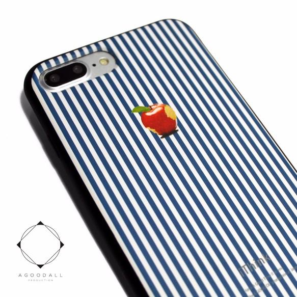 644d89fdf6 iphone7plus/iphone8plusケース レザーケースカバー(オフホワイト)ロンドンストライプ 赤リンゴ