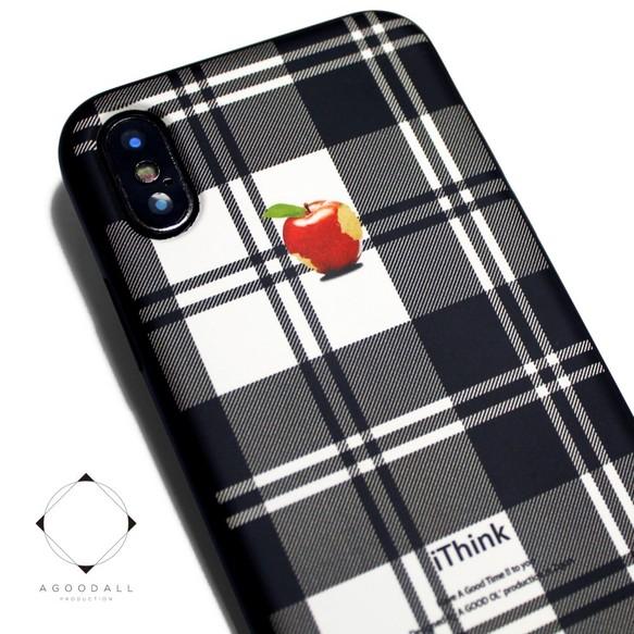 194aa767bd iphoneXケース / iphoneXsケース レザーケースカバー(タータンチェック)赤リンゴ X / Xs