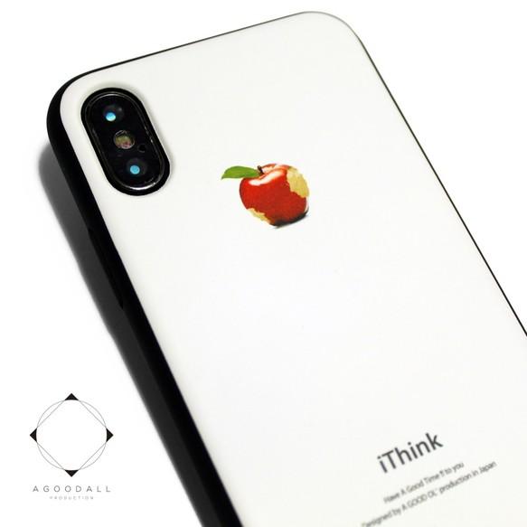 b60ff1d6c4 iphoneXケース / iphoneXsケース レザーケースカバー(オフホワイト)赤リンゴ X / Xs