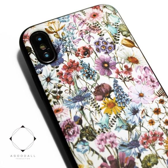 cd27b3b415 iphoneXSMAXケース / iphoneXSMAXカバー レザーケースカバー(花柄×ブラック)ワイルドフラワー