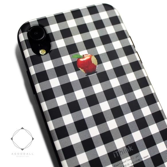 2d1a5b50f3 iphoneXRケース / iphoneXRカバー レザーケースカバー(シェパードチェック)赤リンゴ / XR