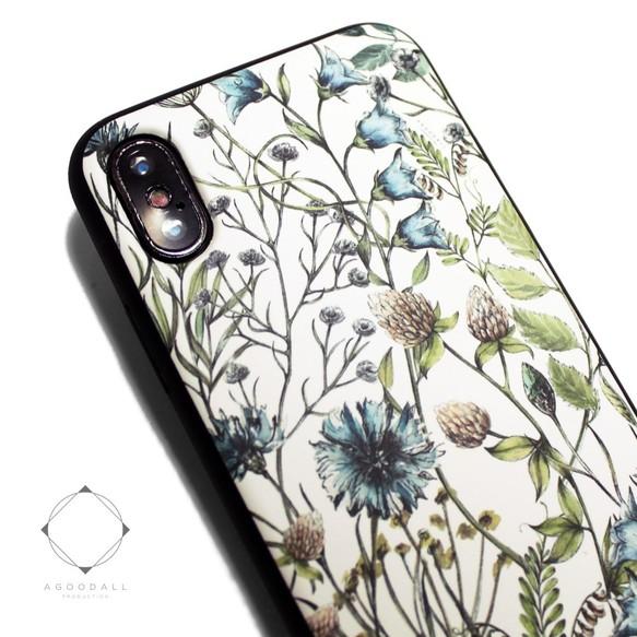 6fcb5eef63 iphoneXSMAXケース/iphoneXSMAXカバー レザーケース(花柄×ブラック)ワイルドフラワー ボタニカル