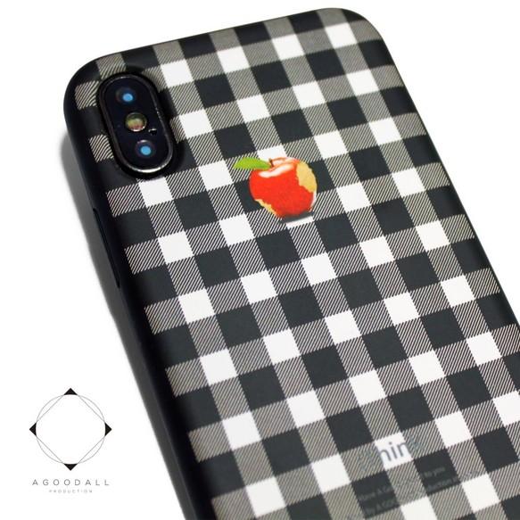 905dfc3ff2 iphoneXSMAXケース / iphoneXSMAXカバー レザーケースカバー(シェパードチェック)赤リンゴ