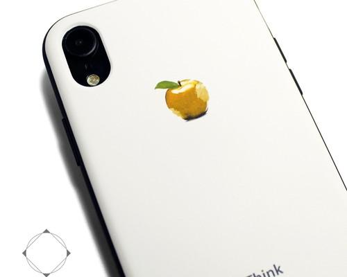 6d6ef1c2fe iphoneXRケース / iphoneXRカバー レザーケースカバー(オフホワイト)黄金のリンゴ シンプル XR