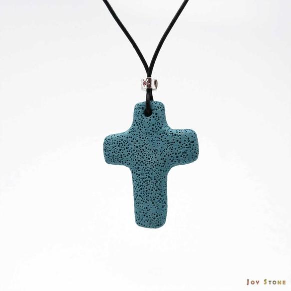 Blue lava diffuser cross pendant cowhide leather necklace blue lava diffuser cross pendant cowhide leather necklace mozeypictures Choice Image