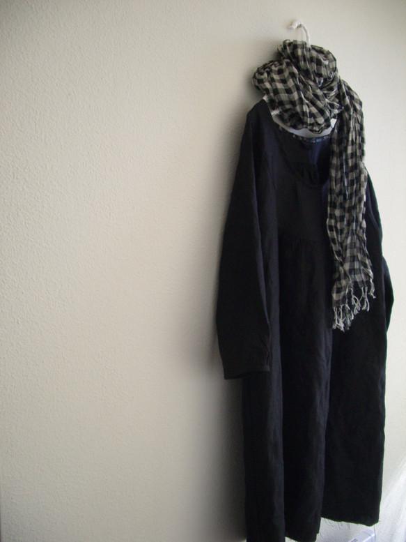 f2fe57ad906e0 リネン まるヨークワンピース 黒 ワンピース・チュニック Hana3 通販 ...