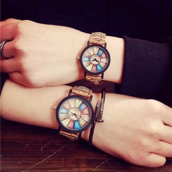 new styles ac030 527c1 レトロ ビッグフェイス 腕時計 カラフル文字盤 おしゃれ メンズ レディース